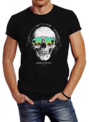 Neverless® Herren T-Shirt Totenkopf Kopfhörer Musik Party Skull Sonnenbrille Schädel Sounds of Detroit Music Slim Fit schwarz M