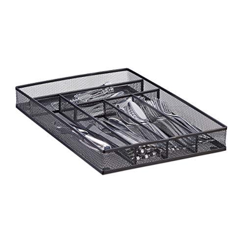Relaxdays Range-couverts mailles acier métal boîte à couverts bac à couverts HxlxP: 5,1 x 28,6 x 40,6 cm, noir