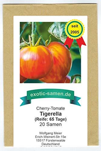 Absolute Neuheit! Tigerella Cherry-Tomate - hervorragend für kühle Gegenden - auch für den Balkon - sehr frühe Sorte - 20 Samen