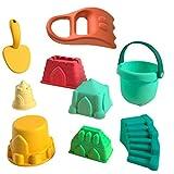 Hspemo Juego de juguetes de playa para niños, 9 piezas, juguetes para excavar, castillo, pala de arena y bucket Beach Outdoor Juegos Sandbox Toys
