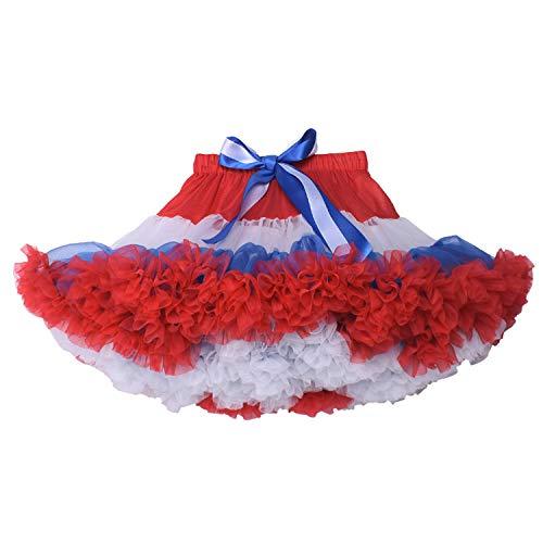 Joygown Baby Little Girls Elastic Waist Multi-Layer Tulle Tutu Skirt Petticoat Red White and Blue L