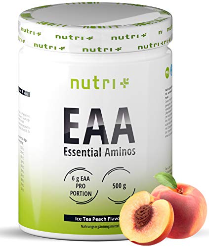 EAAs Powder Vegan 500g - Highest DOSE - All Essential Amino acids - Iced Tea Peach Flavour EAA - Nutri-Plus Sports - Essential Aminos