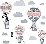 greenluup Wandsticker Wandtattoo Kinderzimmer Heißluftballon Rosa Grau Tiere Wolken Waldtiere Kinderzimmer Babyzimmer Baby (C2)