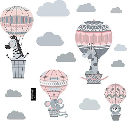 greenluup große Wandsticker Wandtattoos umweltfreundlich Grau Rosa Ballons Heißluftballons Tiere Elefant Giraffe Zebra Kinderzimmer Babyzimmer Mädchen (w19)