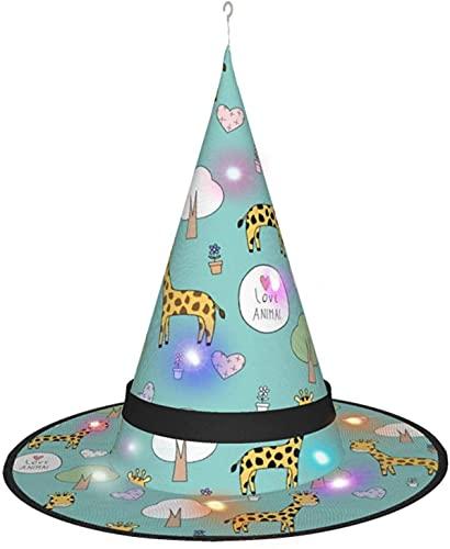 KINGAM Sombrero de bruja de jirafa con luz, para disfraz de Halloween, fiesta de disfraces, cosplay y uso diario