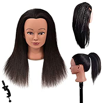 Riseang Hair Professional 100% Real Hair Afro Mannequin Head,Hair Styling Training Head,Training Dolls Head for Practice Hairstyle,Manikin Training Head Hair and Free Clamp Holder  20inch