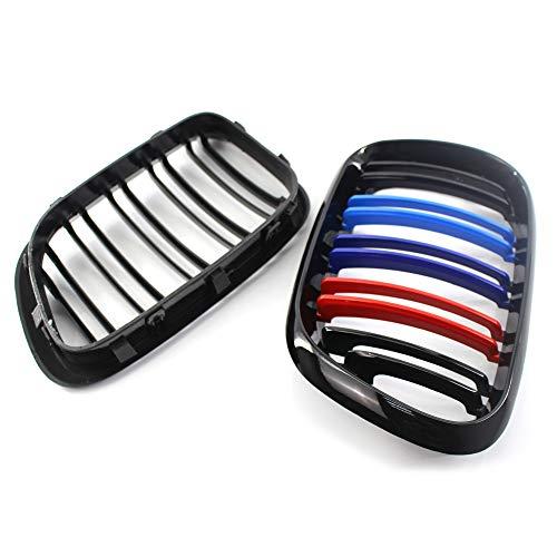 Noir brillant 2 bars M-color Auto Bonnet Grilles de voiture avant Centre pare-chocs Capuche Rein Grille Grill