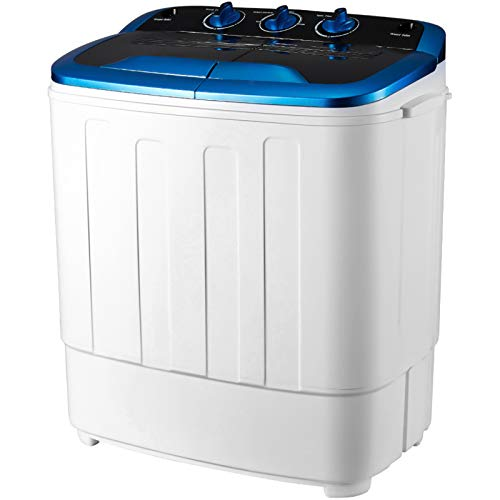 HOMHUM Compact Small Twin Tub Washing Machine Portable w/Wash and Spin Cycle, 16 lbs 2IN1 Washer Spin Dehydrator Ideal…