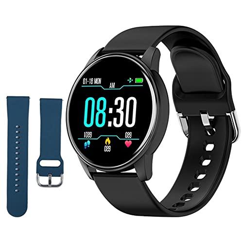 Hainice Pulsera Inteligente Inteligente Relojes de Silicona Deportes ZL01 con Azul de Repuesto Correa rastreador de Ejercicios de Ritmo cardíaco Prueba podómetro Hombres Negro
