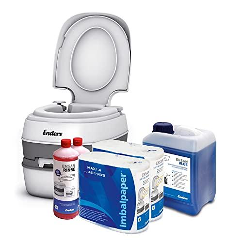 Enders Campingtoilette Starter-Set Blue 5,0 Liter Comfort 4946 inkl. Sanitärflüssigkeit und WC Papier - Mobile Chemietoilette Campingklo Camping-Toilette