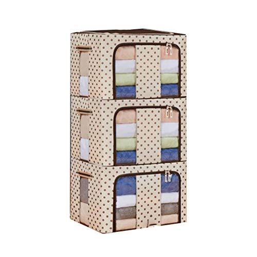 Hanpiyigzwl Cajas Almacenaje, 3 piezas de caja de almacenamiento de estructura de acero de tela de Oxford, bolsa de almacenamiento de colcha extra grande, caja de almacenamiento de libros, caja de alm