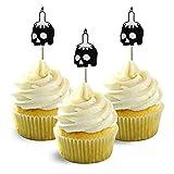 Skull candles silhouette Halloween Cupcake Topper Black Cardstock 12 per Pack Cupcake decor