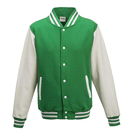 Just Hoods - Unisex College Jacke 'Varsity Jacket' BITTE DIE JH043 BESTELLEN! Gr. - M - Kelly Green/White