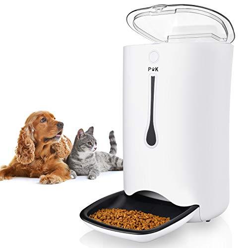 PUPPY KITTY Automatischer Futterautomat für Katze und Hund, 7L Futterautomat Katze mit Timer-Zuführung, LCD Programmierbare Bildschirm, Doppelte Stromversorgung und Ton-Aufnahmefunktion. (weiß)