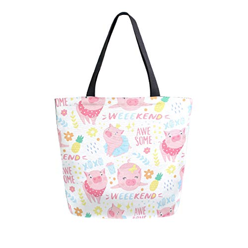 ALAZA Funny Pink Pig With Pineapple Canvas Tote Bag Handbags for Beach Book Lovers