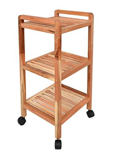 ts-ideen Roll Regal Standregal mit Rollen Höhe 77 cm aus Walnuss Massivholz für Bad, Wohnzimmer, Sauna, Flur, Diele, Küche, Büro und Kinderzimmer