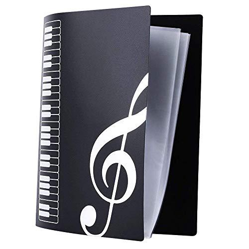TJW Notenmappe, Notenblatt-Ordner, für A4-Größe, 40 Packtaschen Schwarz