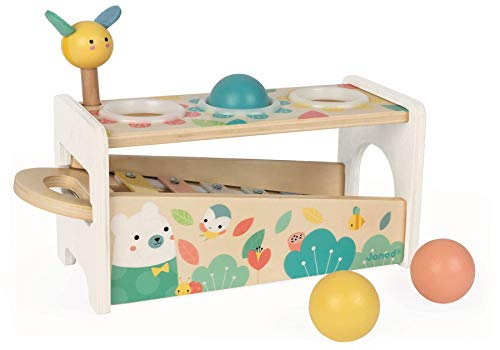Janod Pure Tap Pastel Wooden Xylophone Pounding Bench with Cherry Wood Balls & Bee Shaped Hammer for Ages 12+ Months