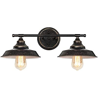 Farmhouse Bathroom Light Fixtures, 2 Light Bronze Wall Vanity Lights, Vintage Industrial Wall Mount Vanity Sconce for Mirror Cabinets Dressing Table