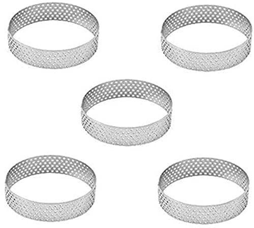 Ghlevo 5 unids 6 cm Tarta Circular Postre Perforación de Acero Pastel de Fruta Quiche Cake Mousse Cocina Molde para Hornear