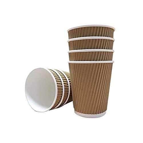 We Can Source It Ltd - 100 X 8oz kraft Welle Becher 3-PLY Einweg- Isoliert Papier Kaffeetassen