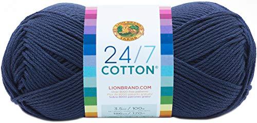 Lion Brand Yarn 761-110 24-7 Cotton Yarn, Navy