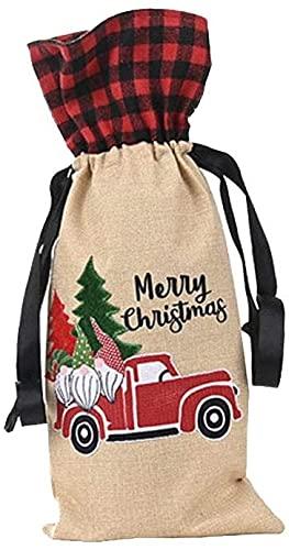 JYHZ Decoraciones navideñas, Bosque Viejo Coche Patrón De Botella De Vino Bolsa De Botella, Decoraciones De Navidad, Decoraciones De Fiesta, Regalos Para Niños