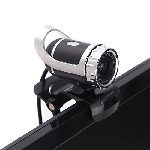 KKmoon - Webcam HD USB 2.0 360 ° ajustable con micrófono integrado para Skype Escritorio PC portátil plata miniatura