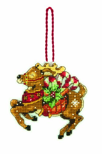 Dimensions Counted Cross Stitch Reindeer Christmas Ornament Kit, 3.5'' W x 4.5'' H
