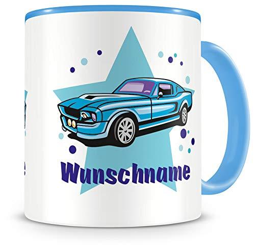 Samunshi® Kindertasse mit Namen Tasse Blaues Auto Personalisierte Tasse mit Namen Kinder Kinderbecher mit Namen Kindergarten blau 300ml