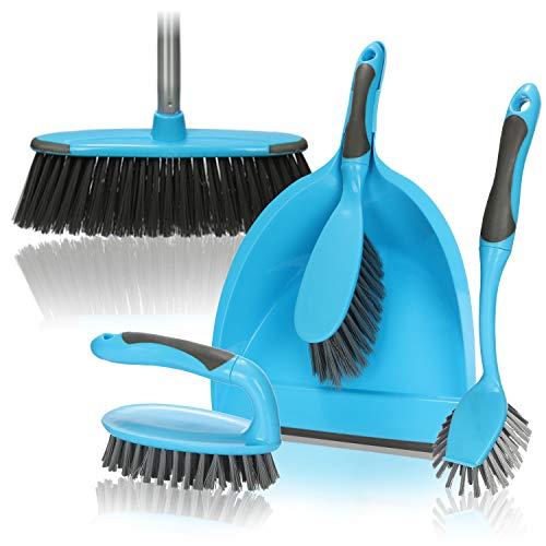 com-four® 6-teiliges Reinigungs-Set, 4-in-1, Besen, Handfeger, Kehrschaufel, Fugenbürste und Spülbürste, perfektes Reinigungs-Starterset (06-teiliges Reinigungsset - blau)