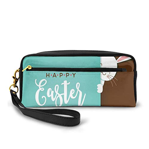 Pencil Case Pen Bag Pouch Stationary,Happy Easter Bunny Looking from The Edge of Blue Background Peekaboo Animal,Small Makeup Bag Coin Purse