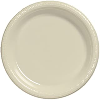 Creative Converting Touch of Color 20 Count Plastic Lunch Plates, Ivory