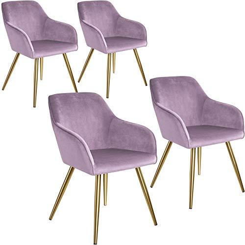 tectake 800862 4er Set Esszimmerstuhl mit Armlehnen, gepolstert, Sitzfläche aus Samt, goldene Metallbeine, für Wohnzimmer, Esszimmer, Küche und Büro (Rosa Gold   Nr. 404007)