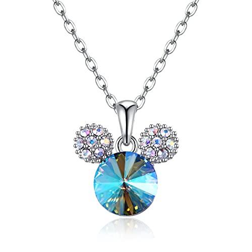 BENHAI Diseño De Ratón Mujer/Niñas Cristales Colgante Collar, 925 Plateado Swarovski Element Colgante Joyería Regalo para el día de la Madre para Mujer De Amor Regalos para Mamá Ajustable 50+5cm
