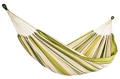 Amalyssa - Hamac Brésilien : Provence Olivier - Pur Coton - Dégradé de Vert et Ecru - Toile Résistante - Confort & Solidité - Séchage Rapide - Lavable 30° - Fabrication Artisanale