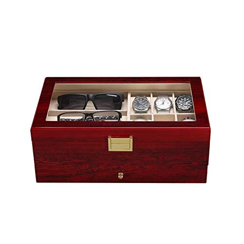 KHUY Caja Relojes Hombre Mujer, Relojero Hombre Organizador Organizador Visualización, Multifuncional Estuches Relojes Mostrar Estuche para Relojes Gafas Pulseras Pendientes Joyería
