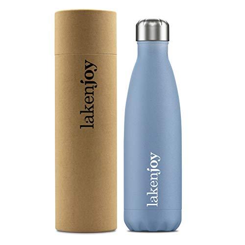 Laken Botella Térmica de Agua de Acero Inoxidable, Boca Estrecha, Cantimplora Termo con Doble Aislamiento, 12 h de Calor y 24 h Frío, Laken Joy 500ML, Blue