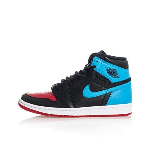 Jordan Air 1 High OG, Running Shoe Mujer, Negro/Dk Powder Blue/Rojo Gimnasio, 45.5 EU