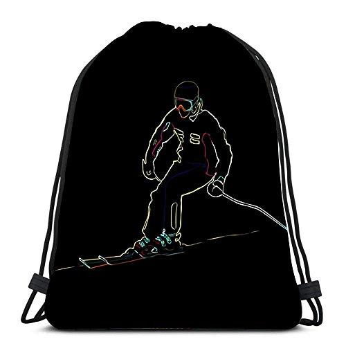 WH-CLA Unisex Drawstring Backpack,Der Athlet Auf Dem Berg Skifahren Klettern Nach Unten Neon Farbe Schwarz Bequem Kordelzug Rucksack Stilvoll Rucksack Beutel Tasche Sport Tunnelzug Gymsack