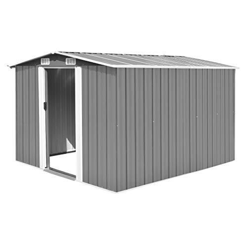 Metall Gerätehaus mit Pultdach, Schiebetür & Fundament   257×298×178 cm   Geräteschuppen Gartenhaus Schuppen Metallgerätehaus   Grau