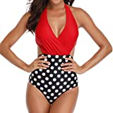 Bikinis Mujer 2020 Push up con Relleno Traje de baño de una Pieza con Estampado Floral con Cordones y Espalda de Halter Sexy Monokini Cintura Alta Bañadores de Mujer riou
