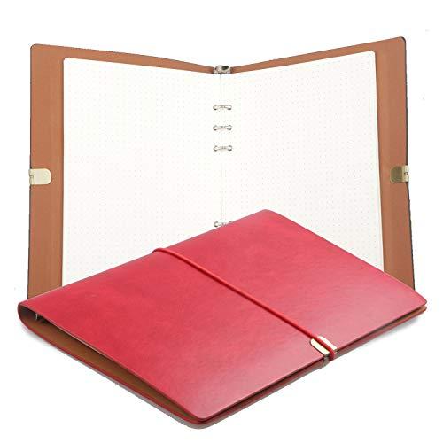 A5 Cuaderno de cuero Cuaderno de Cuero PU Cuaderno de Escritura Diario Papel Reemplazable, Cuero de PU Suave Fino + Carpeta de Metal + Papel de Calidad - 100 g/m2, 160 páginas (Rojo)