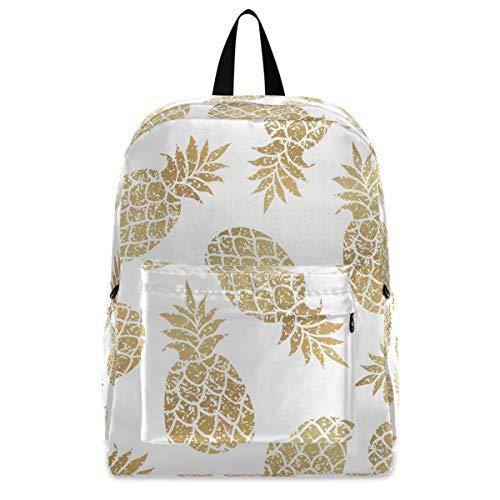Lightweight Bookbag Travel Laptop Backpack - Golden Pineapple Computer Bag for Women Men Biking Hiking Camping Cyclingg Fits up to 15.6 Inch Laptop