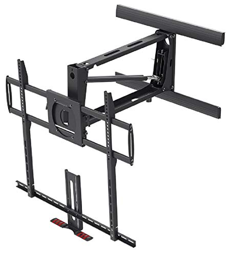 Monoprice Above Fireplace Pull-Down Full-Motion Articulating TV Wall Mount Bracket For TVs 55 to 100 inches, Max Weight 154lbs, VESA Patterns Up to 800×600, Rotating, Height Adjustable Black