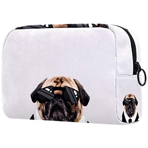 FURINKAZAN Divertido perro con trajes negros de gafas de sol bolsa de maquillaje de viaje para artículos de tocador, bolsa de maquillaje para hombres y mujeres