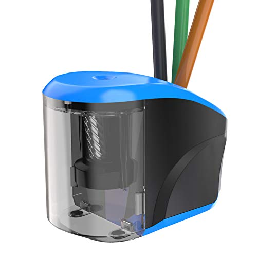 RIIKUNTEK Electric Pencil Sharpeners Portable for Kids with Pencil Holder, USB/Battery Operated, Heavy Duty Helical Blade for No.2, Colored Pencils(6-8mm), Artists, School Classroom, Home, Office Blue