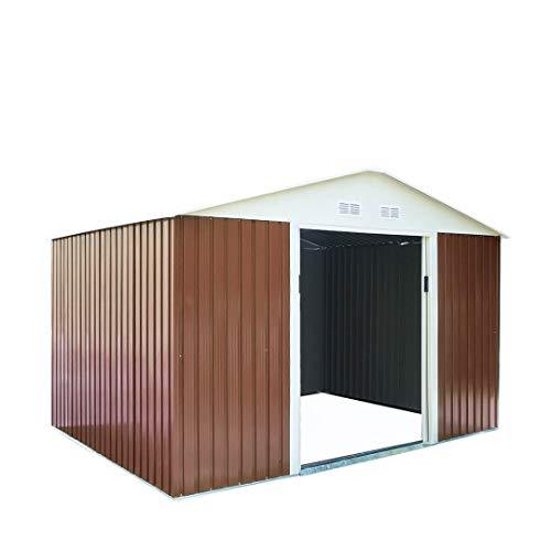 Gartenhaus oder Gerätehaus Infinity aus Metall für den Garten, Braun
