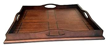 Mountain Woods Square Ottoman Wooden Serving Tray with Handles | Coffee Tray | Home Décor - 20  x 20  x 2.875