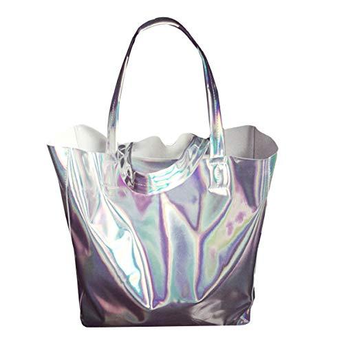 Van Caro Damen Holografische Schultertasche mit offenem Oberteil, Silber (silber), Einheitsgröße